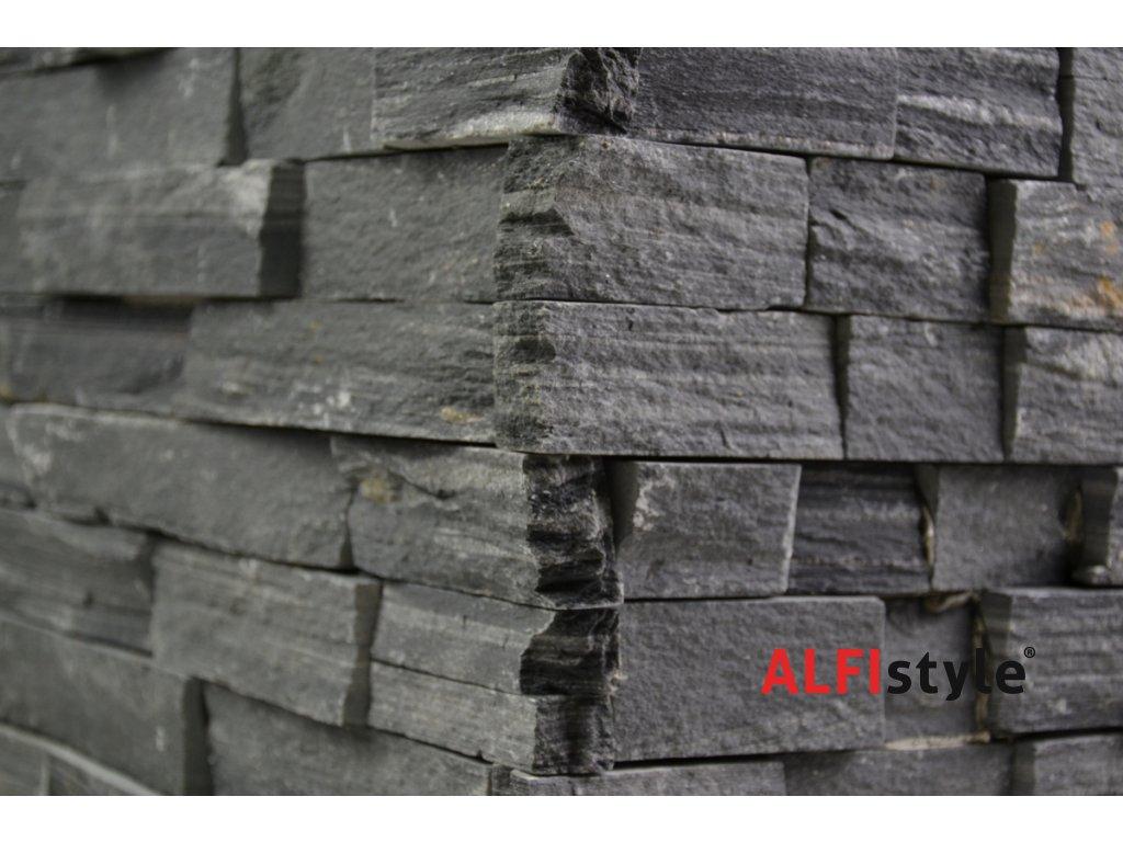 kamenný obklad z crne bridlice BL002 roh