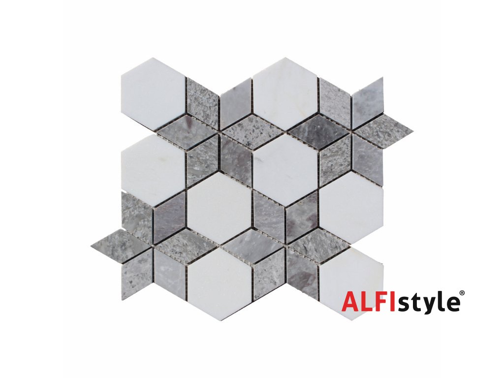 Kamenná mozaika z mramoru, Hviezda ocean vein, 30,5 x 24,7 x 0,9 cm, NH203