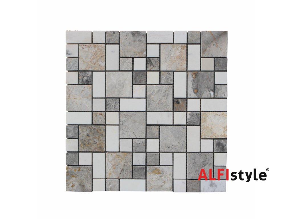 Kamenná mozaika z mramoru, Magic square multicolor, 30 x 30 x 0,9 cm, NH208 VZORKA