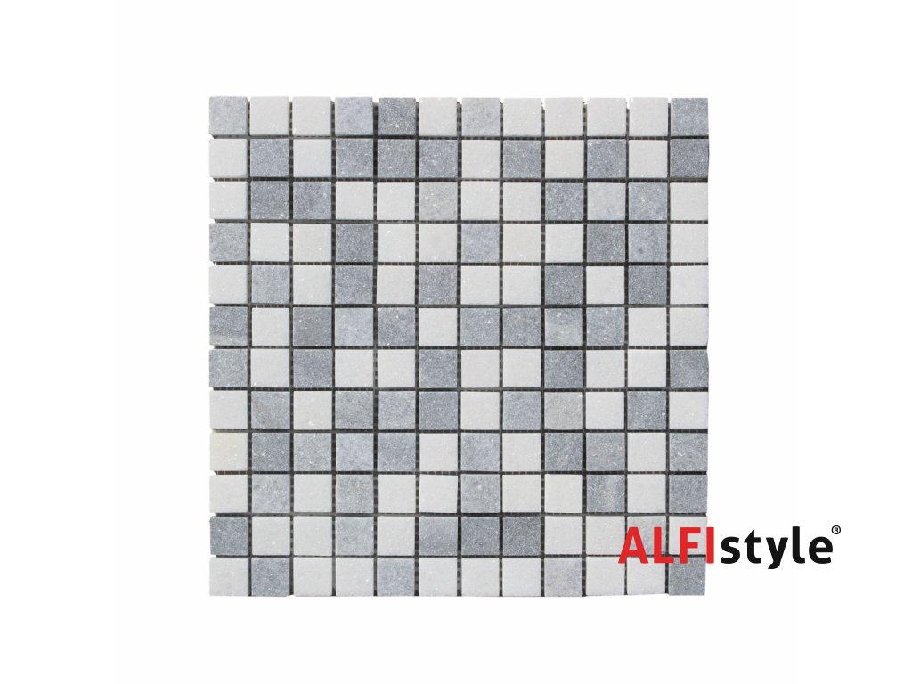 Kamenná mozaika z mramoru, Square white and grey, 30 x 30 x 0,9 cm, NH207 VZORKA