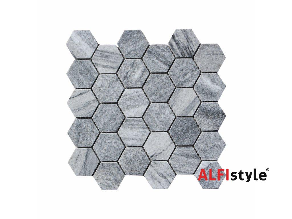Kamenná mozaika z mramoru, Hexagon silver grey, 30,7 x 30,5 x 0,9 cm, NH205 VZORKA