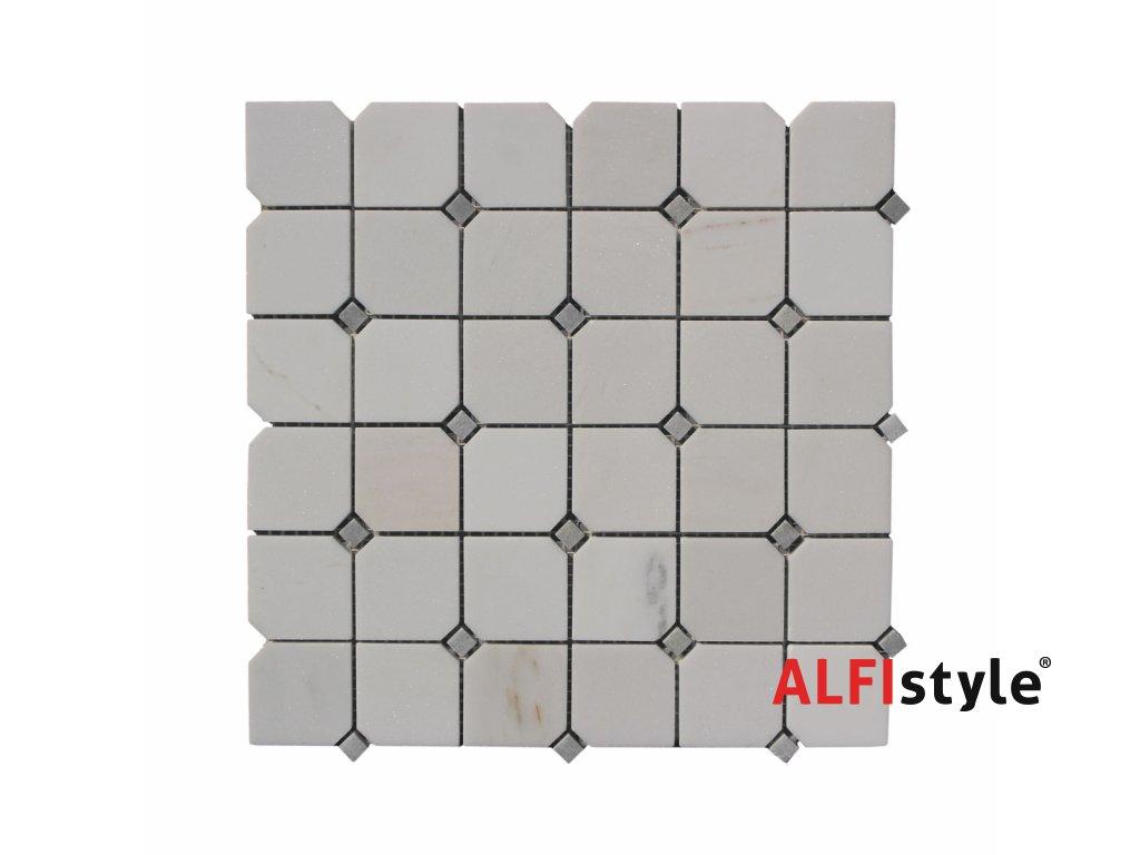 Kamenná mozaika z mramoru, Octagon milky white, 30 x 30 x 0,9 cm, NH206 VZORKA