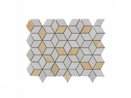Kamenná mozaika z mramoru, Diamant bielo-žltý, 28,5 x 22,5 x 0,9 cm, NH202