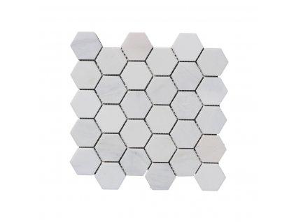 Kamenná mozaika z mramoru, Hexagon milky white, 30,7 x 30,5 x 0,9 cm, NH204 VZORKA