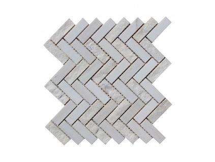 Kamenná mozaika z mramoru, Herringbone white and wooden vein, 31,4 x 31,3 x 0,9 cm, NH212 VZORKA