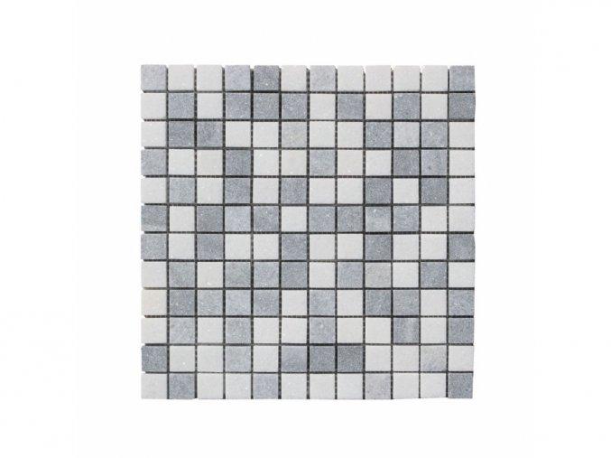 Kamenná mozaika z mramoru, Square white and grey, 30 x 30 x 0,9 cm, NH207