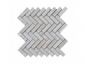 Kamenná mozaika z mramoru, Herringbone white and wooden vein, 31,4 x 31,3 x 0,9 cm, NH212