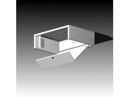 Rack Typ - 502-3U/500 plechové dveře, šedý