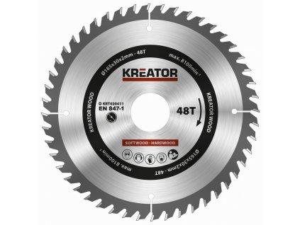 Pilový kotouč Kreator KRT020411 na dřevo 165mm, 48T