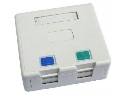 Zásuvka CAT5E UTP 2 x RJ45 na omítku bílá