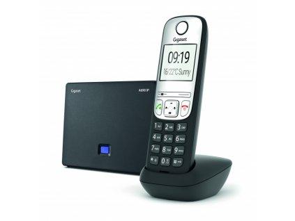 Bezdrátový IP telefon Gigaset A690IP DECT/GAP bezdrátový IP telefon, 6 SIP účtů, 1x PSTN, až 3 hovory zároveň, barva čer