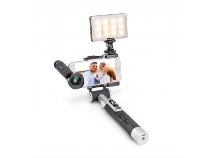 Balíček Miggo PICTAR čočka, světlo a Selfie tyč černá