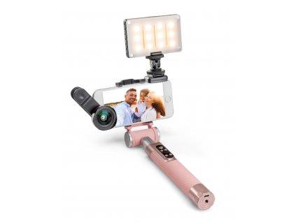 Balíček Miggo PICTAR čočka, světlo a Selfie tyč růžová
