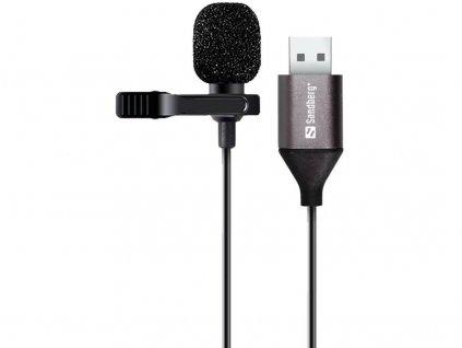 Mikrofon Sandberg Streamer USB Clip Microphone, na klip