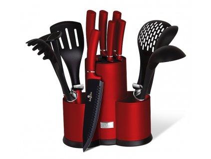 Sada nožů Berlingerhaus a kuchyňského náčiní ve stojanu 12 ks Burgundy Metallic Line BH-6248