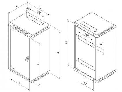 """Rack Triton 10"""" - 10U hybridní 19"""" - 5U/260mm plechové dveře, šedý"""
