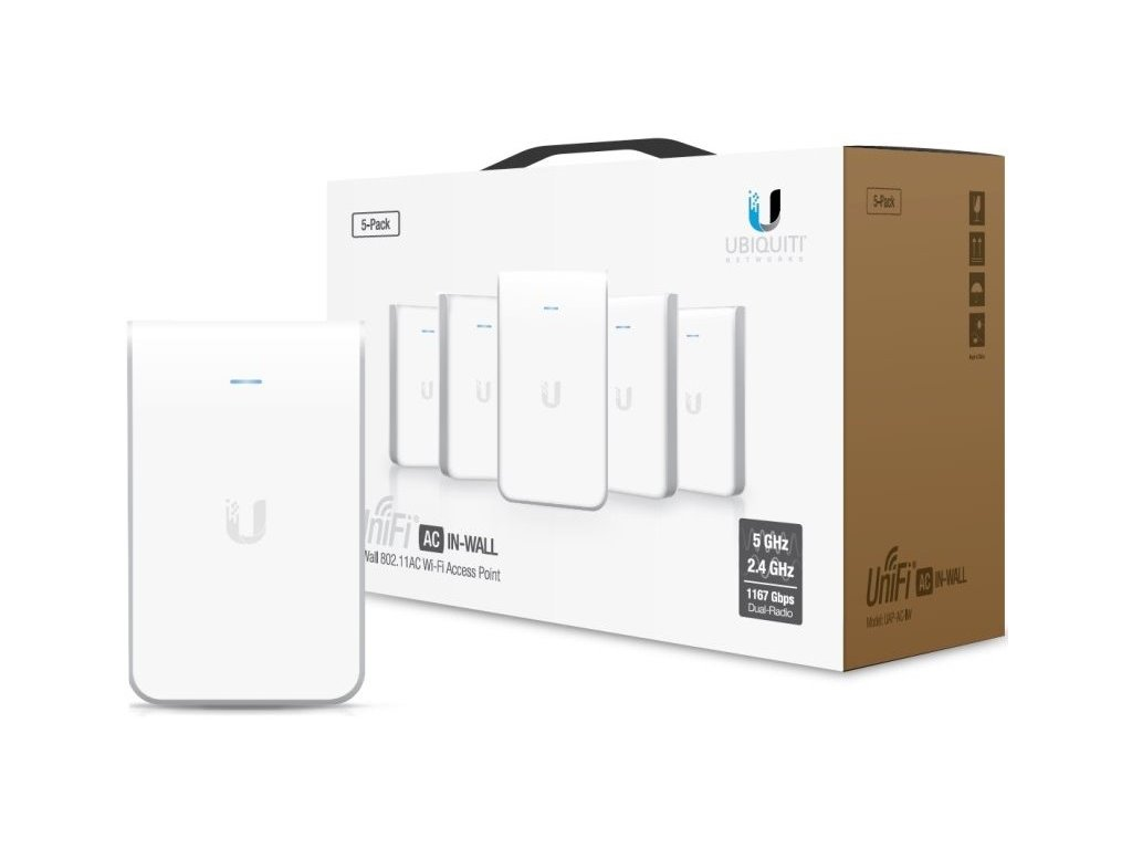 WiFi router Ubiquiti Networks UniFi AP In Wall 2x GLAN, (2,4GHz 300Mbps / 5GHz 867Mbps), 5-pack