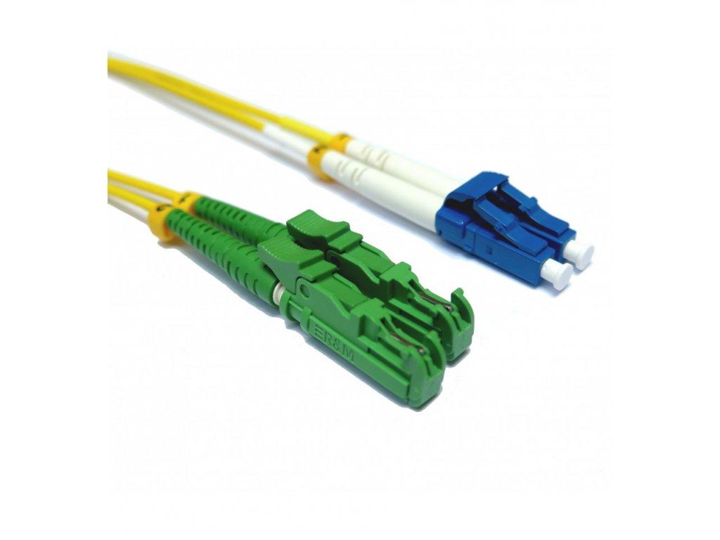 Patch kábel optický duplex LC-E2000/APC 09/125 10 m SM