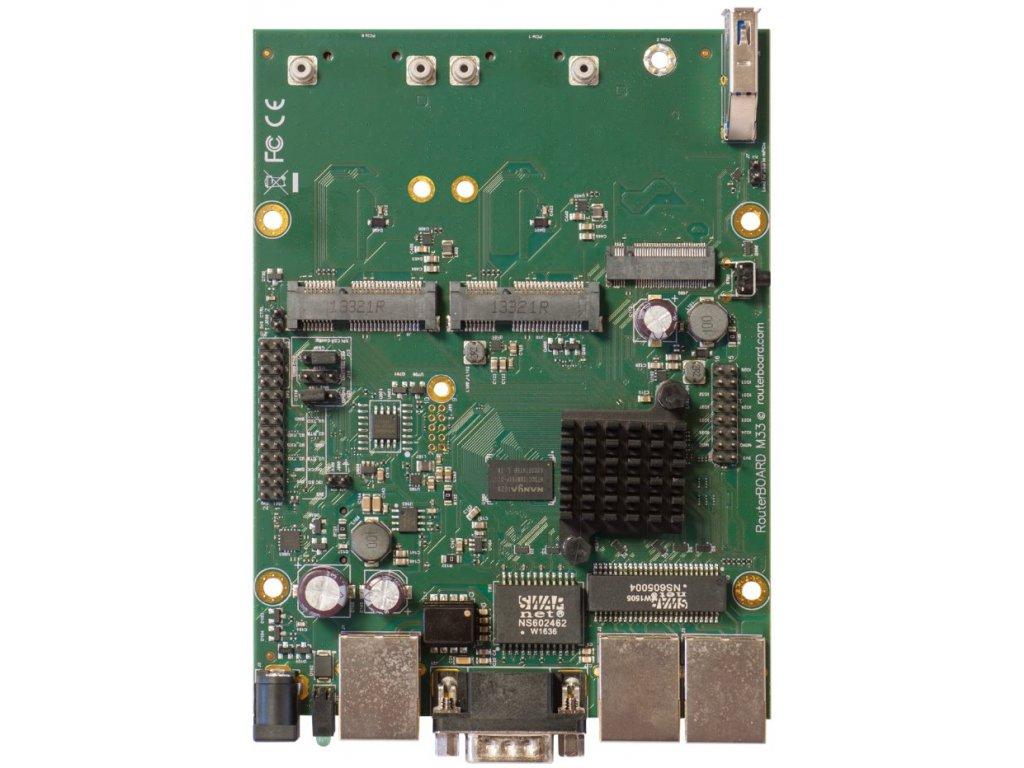 RouterBoard Mikrotik RBM33G Dual Core 880MHz CPU, 256MB RAM, 3x Gbit LAN, 2x miniPCI-e, ROS L4