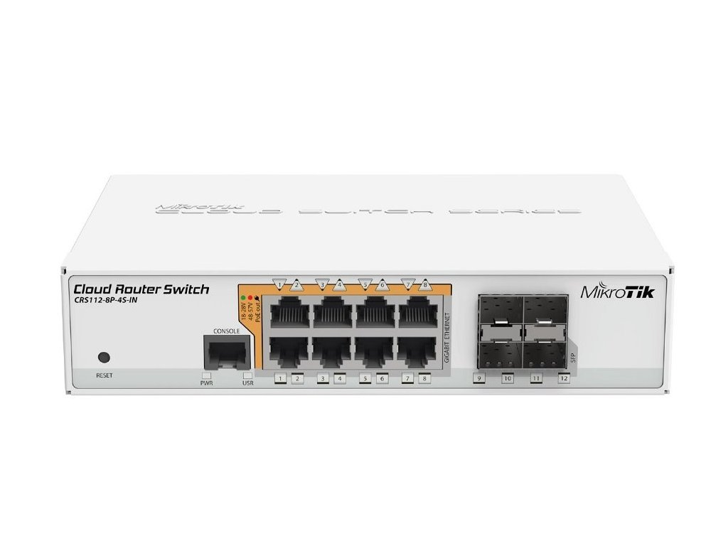 Switch Mikrotik CRS112-8P-4S-IN with QCA8511 128MB, 8xGLAN w PoE-out, 4xSFP, ROS L5, desktop case, PSU