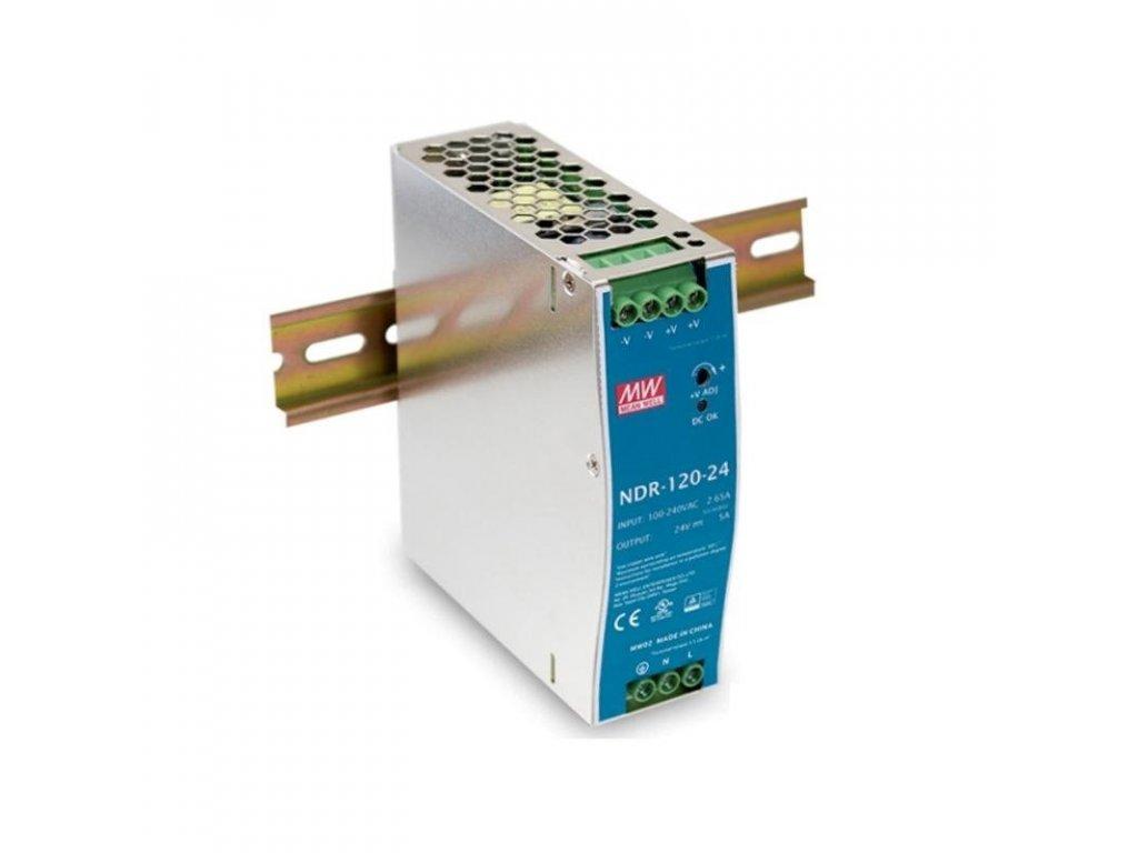 Zdroj Mean Well NDR-120-24 priemyselný 24V 5A na DIN lištu