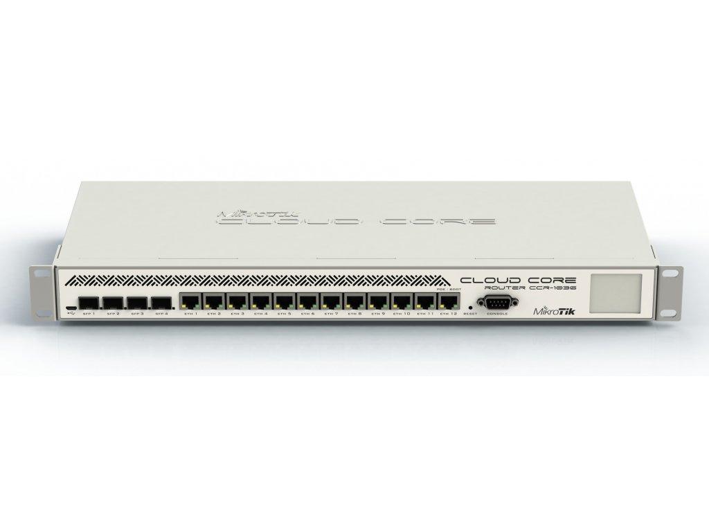 Router Mikrotik Cloud Core CCR1036-12G-4S-EM 12x GB LAN,8GB RAM, 4xSFP cage, Level6, MR 1U, PSU, LCD, revize 2