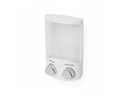 Dávkovač Compactor Duo mydla / šampónu alebo dezinfekcie na stenu, biely plast, 2 x 310 ml, RAN6015