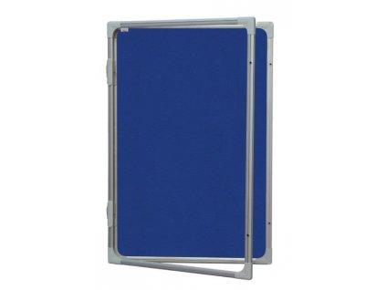 Vitrína s vertikálnym otváraním 120x90cm, filcový modrý vnútro, so zámkom