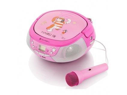 Rádio GoGEN MAXIPREHRAVAC B s CD/MP3/USB, s mikrofónom, ružová/purpurová