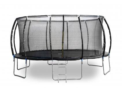 Trampolína G21 SpaceJump 490 cm, čierna, s ochrannou sieťou + schodíky zadarmo