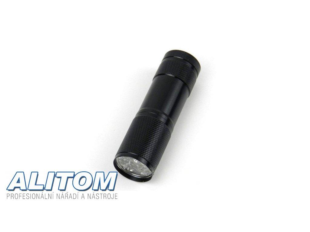 UV hliníková svítilna 9 led 3xAAA