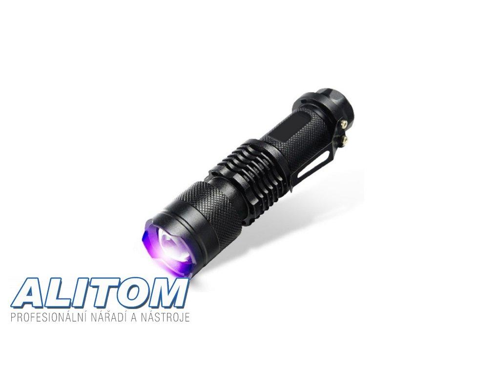 UV hliníková Led svítilna s zoomem / UV Led baterka 1xAA 365 nm