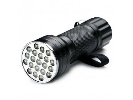 UV hliníková svítilna 21 led 3xAAA