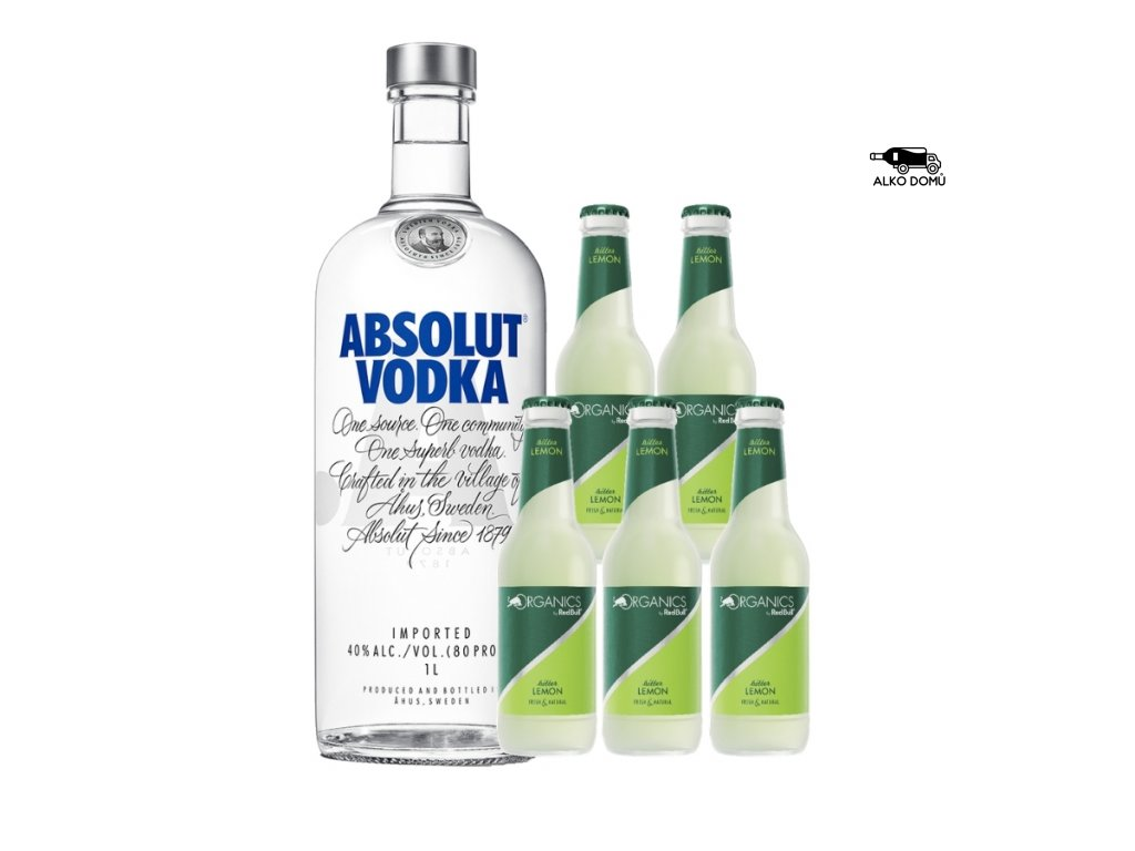 ABSOLUT VODKA + 5x ORGANICS LEMON Rozvoz alkoholu Praha