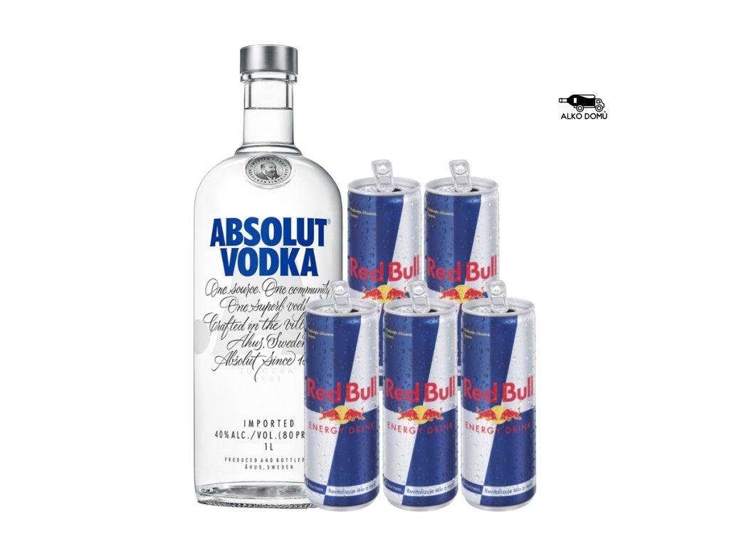 ABSOLUT VODKA + 5x RED BULL Rozvoz alkoholu Praha