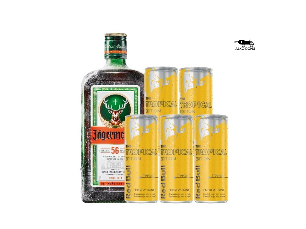JÄGERMEISTER + 5x RED BULL TROPICAL Rozvoz alkoholu Praha