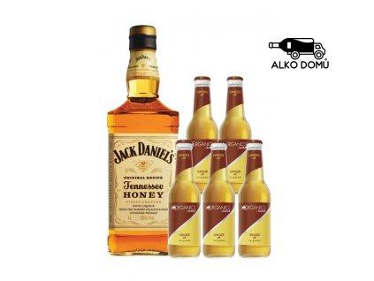 JACK DANIEL'S HONEY WHISKEY + 5x ORGANICS GINGER ALE Rozvoz alkoholu Praha