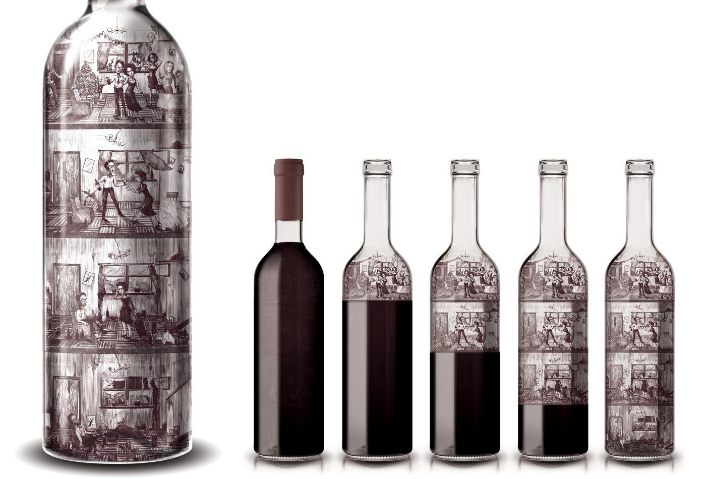 Malované láhve vína jako prevence proti alkoholu nejen za volantem