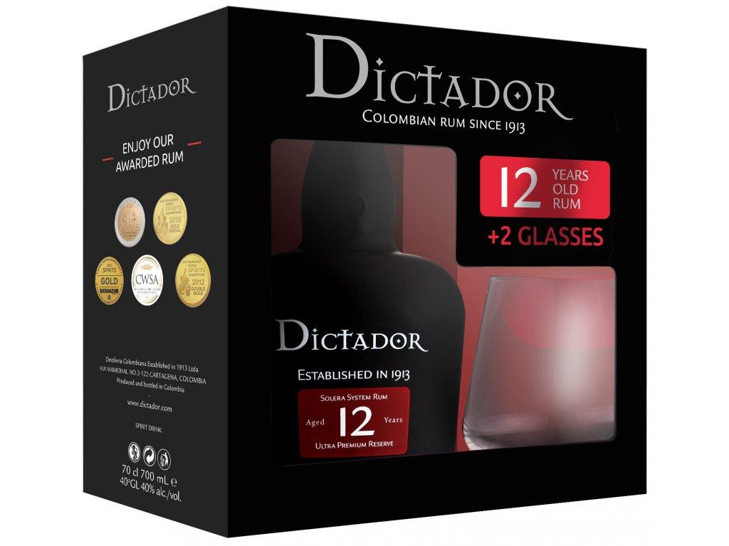 Dictador 12 YO + 2 skleničky, Gift Box, 0,7l