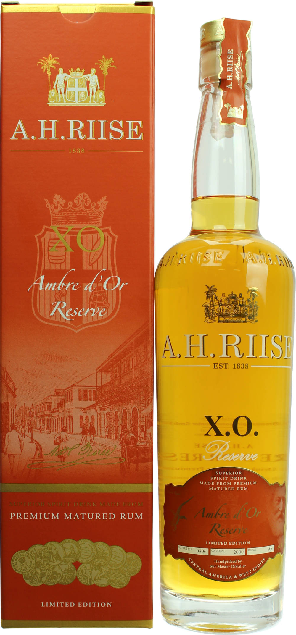 A.H. Riise X.O. Rum Amber d´Or Reserve 42% 0,7l