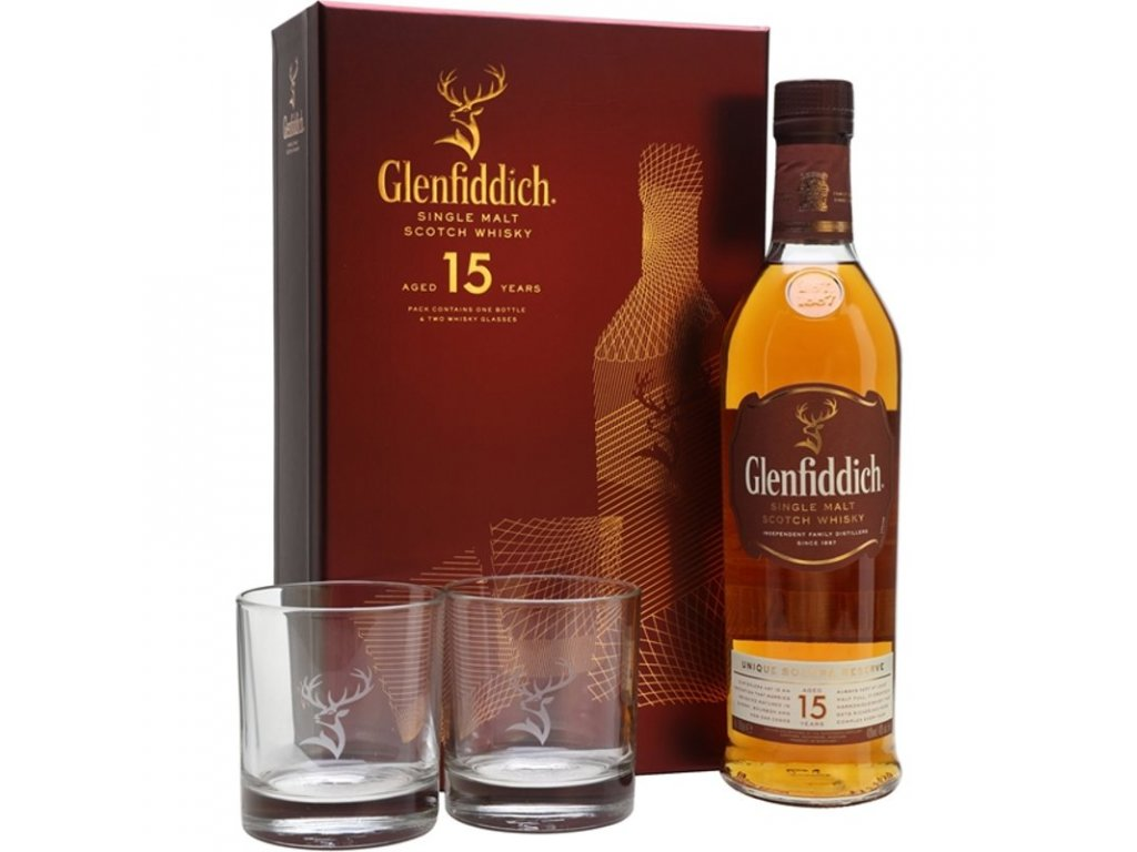 glenfiddich 15 year old 2 glasses gift pack speyside whisky