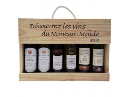 vino kolekcia vins monde drevena krabica 6x025 l
