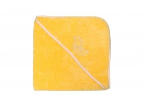 Hebká osuška s kapuckou žlutá