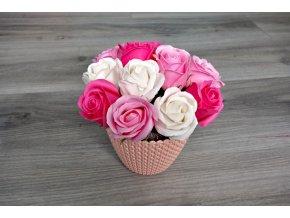 Aranžmá z mýdlových růží - růžová + světle růžová + bílá