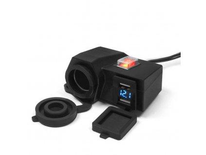 12V zásuvka s USB a voltmetrem