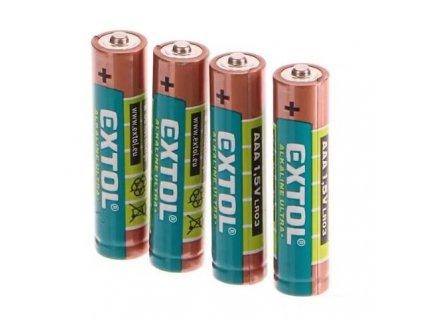 Baterie alkalické ULTRA +, 1,5V AAA (LR03), sada 4 kusy - EXTOL LIGHT EX42010