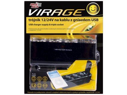 Rozdvojka s USB 12/24V