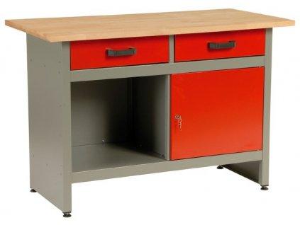 Dílenský stůl, 2 x zásuvka, 1 x dvířka, 120x60x84cm - MARS 5801