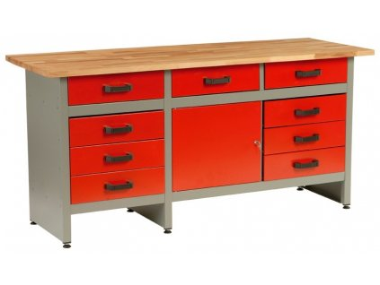 Dílenský stůl, 9 x zásuvka, 1 x dvířka, 170x60x84cm - MARS 5805