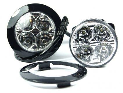 LED světla pro denní svícení 12V - kulaté 4xLED / 70mm M-TECH 902HP (127x31x22mm)